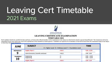 Thumbnail of Leaving Cert Timetable 2021