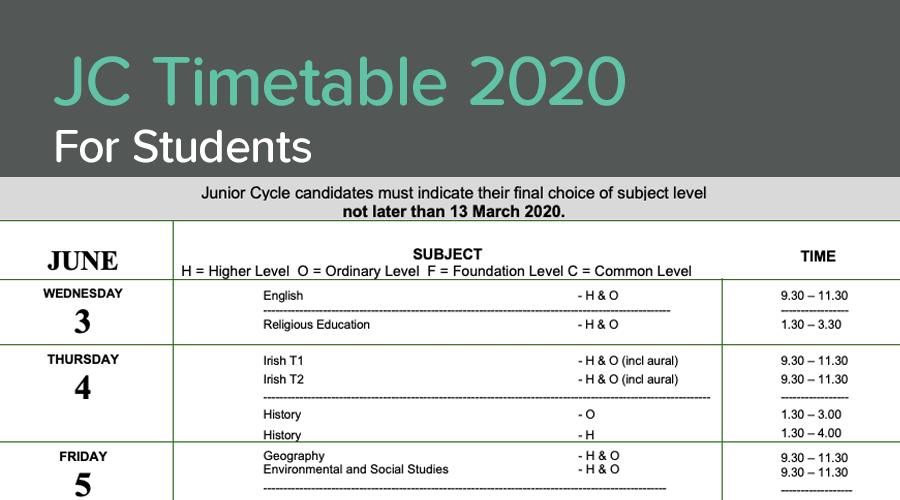 Banner of Junior Cert Timetable 2020