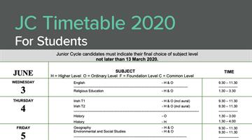 Thumbnail of Junior Cert Timetable 2020