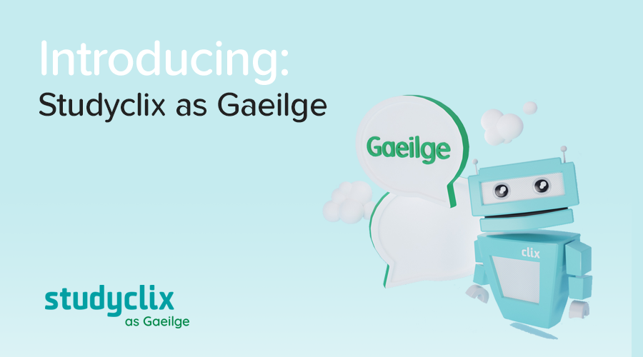 Banner of Introducing: Studyclix as Gaeilge