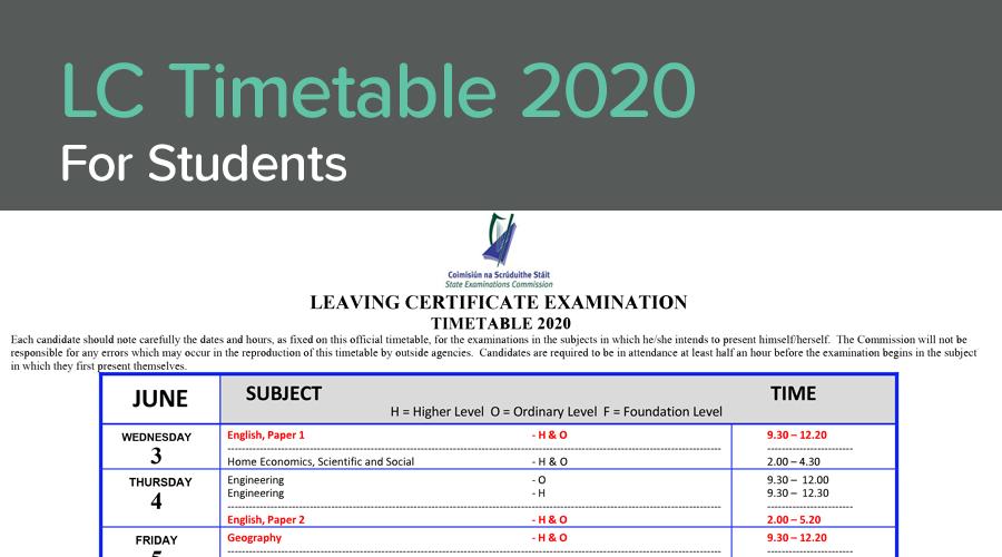 Banner of  Leaving Cert Timetable 2020